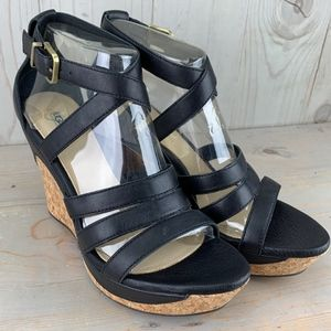 UGG DILLION BLACK LEATHER CROSS STRAP WEDGE HEELS